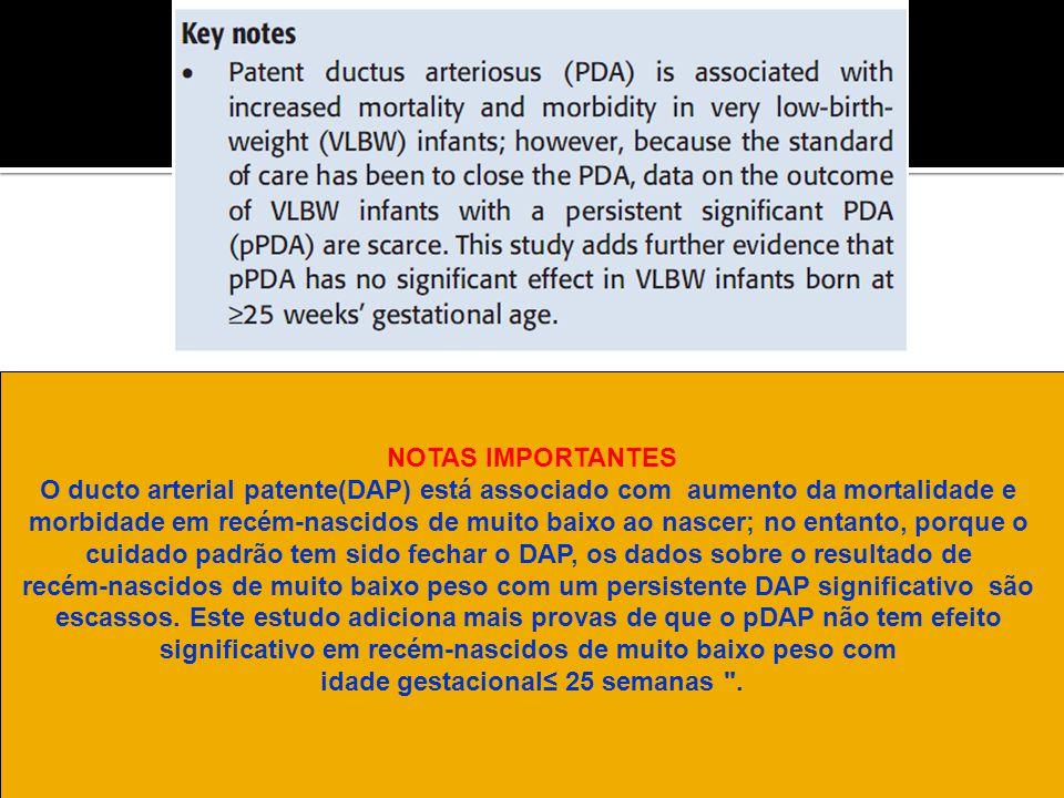 NOTAS IMPORTANTES O ducto arterial patente(DAP) está associado com aumento da mortalidade e morbidade em recém-nascidos de muito baixo ao nascer; no e