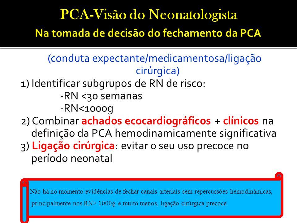 Na tomada de decisão do fechamento da PCA (conduta expectante/medicamentosa/ligação cirúrgica) 1) Identificar subgrupos de RN de risco: -RN <30 semana
