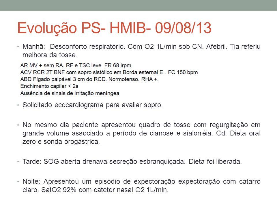 Evolução PS- HMIB- 09/08/13 Manhã: Desconforto respiratório.