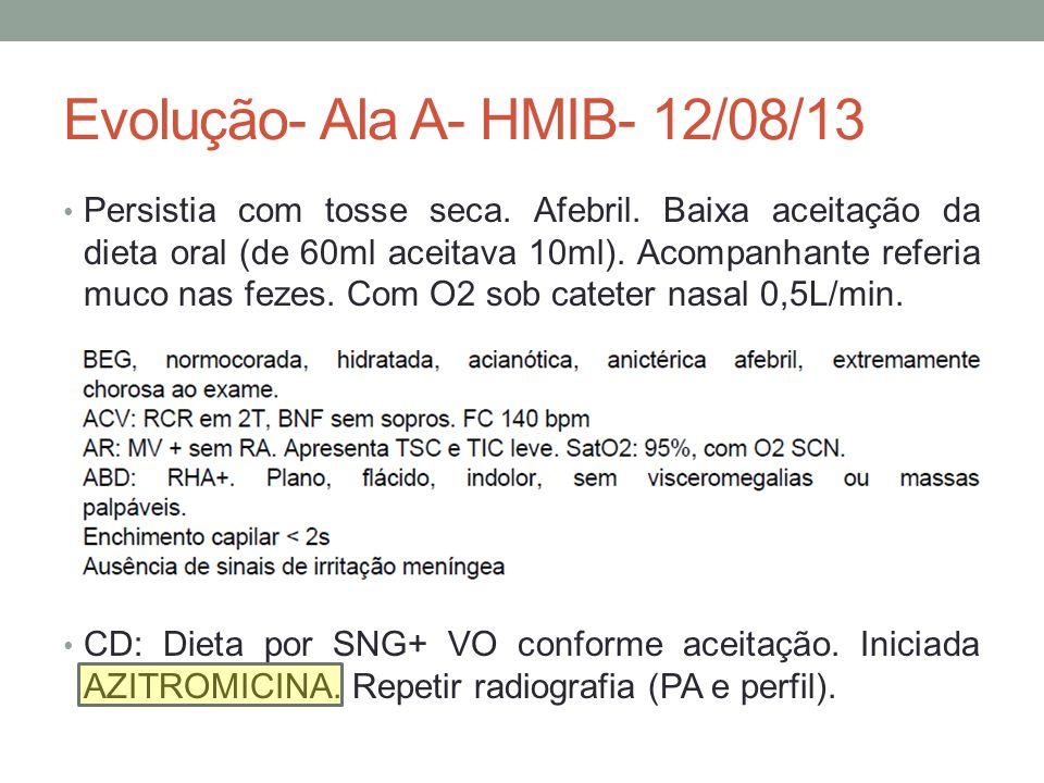 Evolução- Ala A- HMIB- 12/08/13 Persistia com tosse seca.
