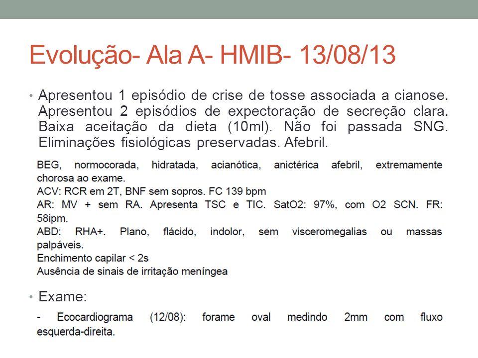 Evolução- Ala A- HMIB- 13/08/13 Apresentou 1 episódio de crise de tosse associada a cianose.