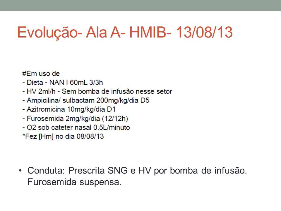 Evolução- Ala A- HMIB- 13/08/13 Conduta: Prescrita SNG e HV por bomba de infusão.