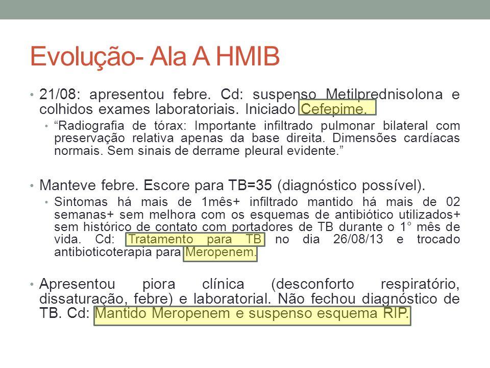Evolução- Ala A HMIB 21/08: apresentou febre.