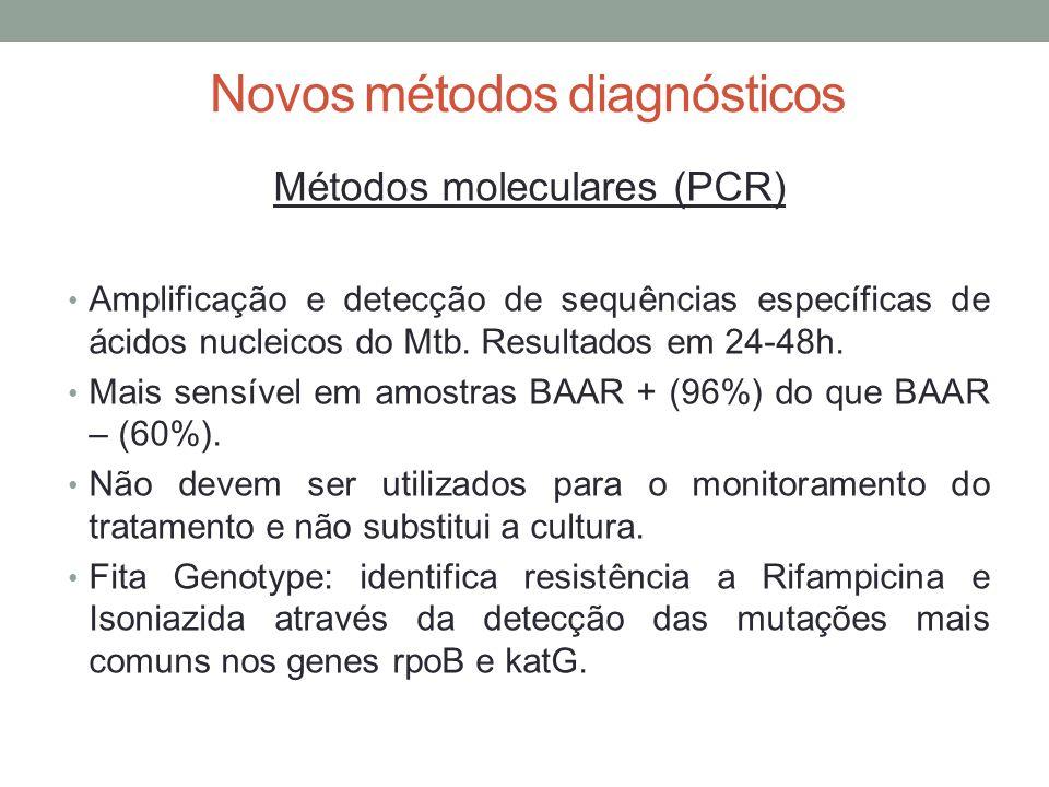 Novos métodos diagnósticos Métodos moleculares (PCR) Amplificação e detecção de sequências específicas de ácidos nucleicos do Mtb.