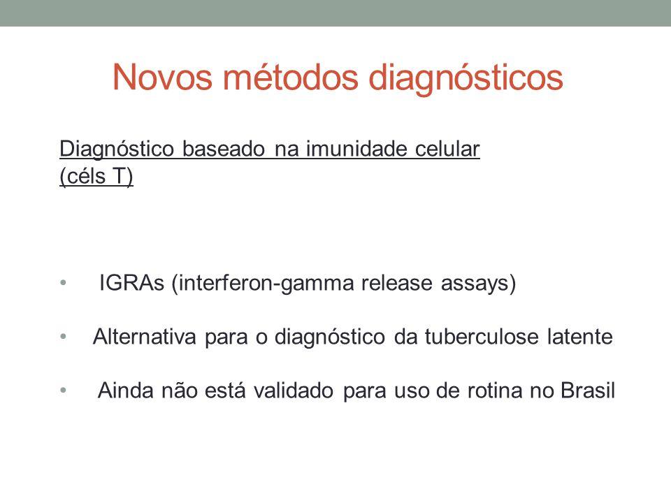 Novos métodos diagnósticos Diagnóstico baseado na imunidade celular (céls T) IGRAs (interferon-gamma release assays) Alternativa para o diagnóstico da tuberculose latente Ainda não está validado para uso de rotina no Brasil