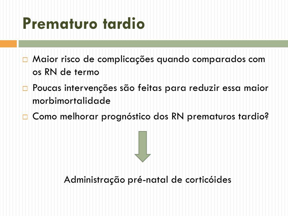 Prematuro tardio Maior risco de complicações quando comparados com os RN de termo Poucas intervenções são feitas para reduzir essa maior morbimortalid