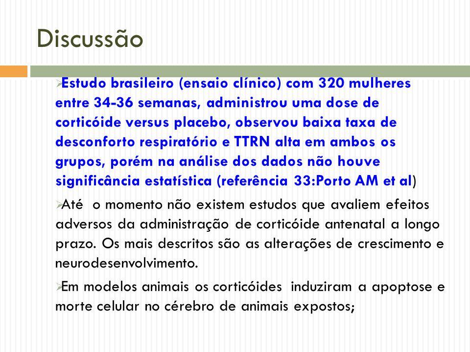 Discussão Estudo brasileiro (ensaio clínico) com 320 mulheres entre 34-36 semanas, administrou uma dose de corticóide versus placebo, observou baixa t