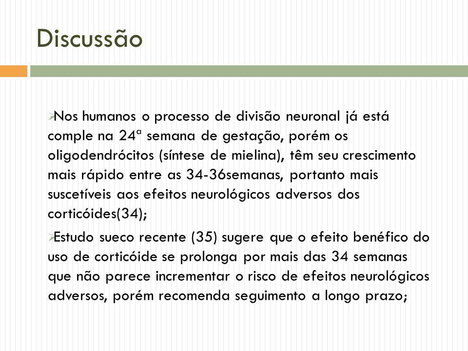 Discussão Nos humanos o processo de divisão neuronal já está comple na 24ª semana de gestação, porém os oligodendrócitos (síntese de mielina), têm seu