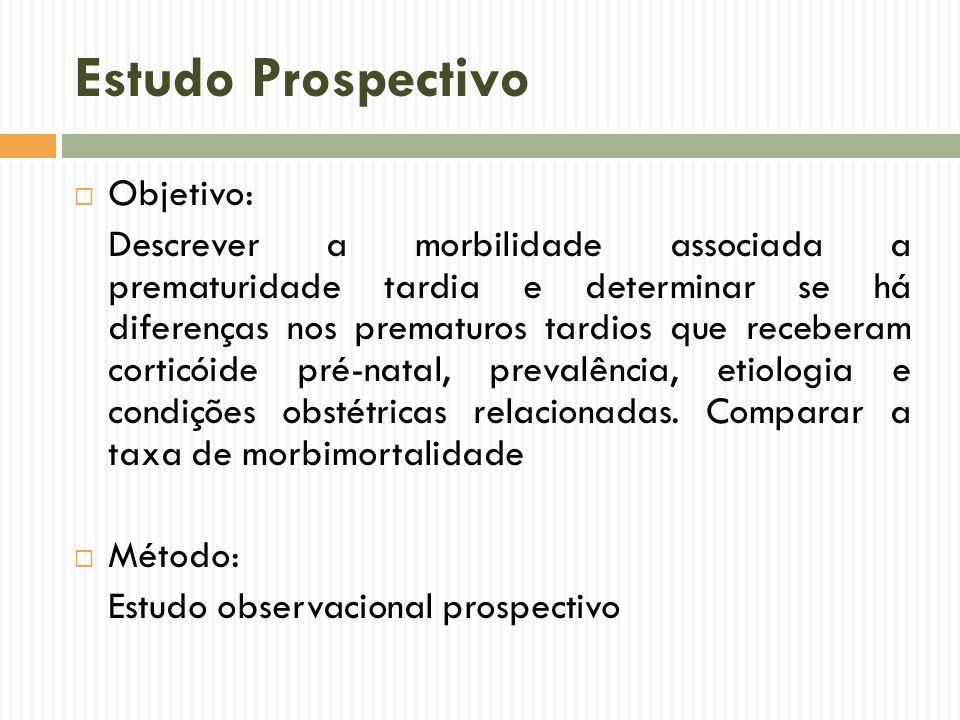 Estudo Prospectivo Objetivo: Descrever a morbilidade associada a prematuridade tardia e determinar se há diferenças nos prematuros tardios que receber
