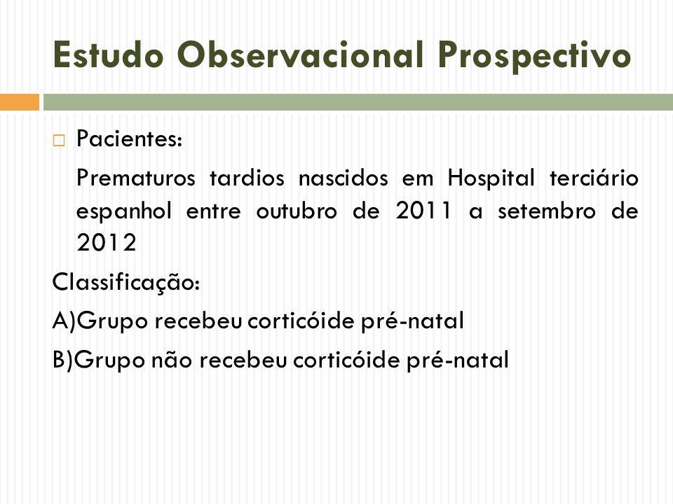 Estudo Observacional Prospectivo Pacientes: Prematuros tardios nascidos em Hospital terciário espanhol entre outubro de 2011 a setembro de 2012 Classi