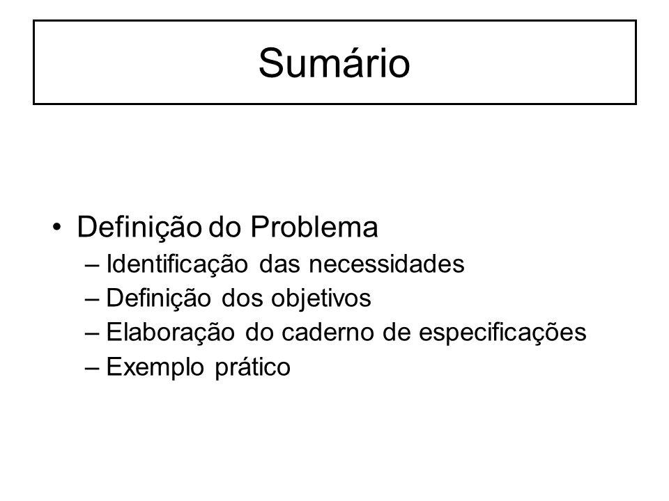 Sumário Definição do Problema –Identificação das necessidades –Definição dos objetivos –Elaboração do caderno de especificações –Exemplo prático