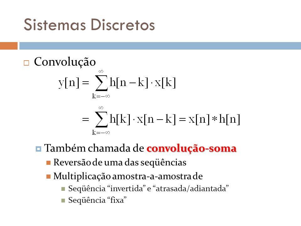 Sistemas Discretos Convolução convolução-soma Também chamada de convolução-soma Reversão de uma das seqüências Multiplicação amostra-a-amostra de Seqüência invertida e atrasada/adiantada Seqüência fixa