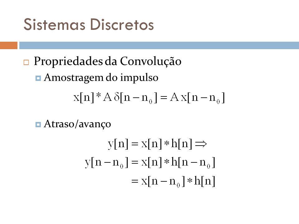 Sistemas Discretos Propriedades da Convolução Amostragem do impulso Atraso/avanço
