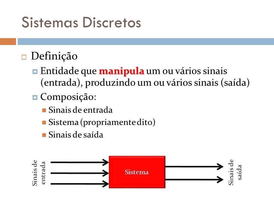 Sistemas Discretos Definição manipula Entidade que manipula um ou vários sinais (entrada), produzindo um ou vários sinais (saída) Composição: Sinais de entrada Sistema (propriamente dito) Sinais de saída Sistema Sinais de entrada Sinais de saída