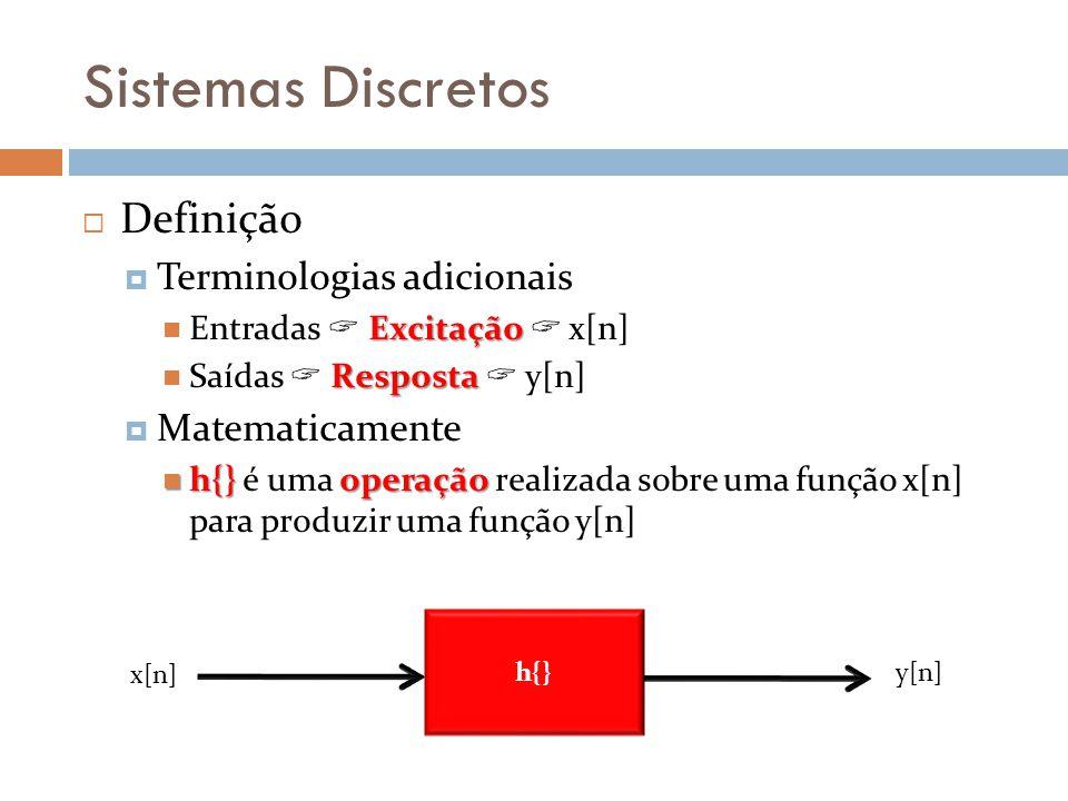 Sistemas Discretos Definição Terminologias adicionais Excitação Entradas Excitação x[n] Resposta Saídas Resposta y[n] Matematicamente h{}operação h{} é uma operação realizada sobre uma função x[n] para produzir uma função y[n] h{} x[n] y[n]