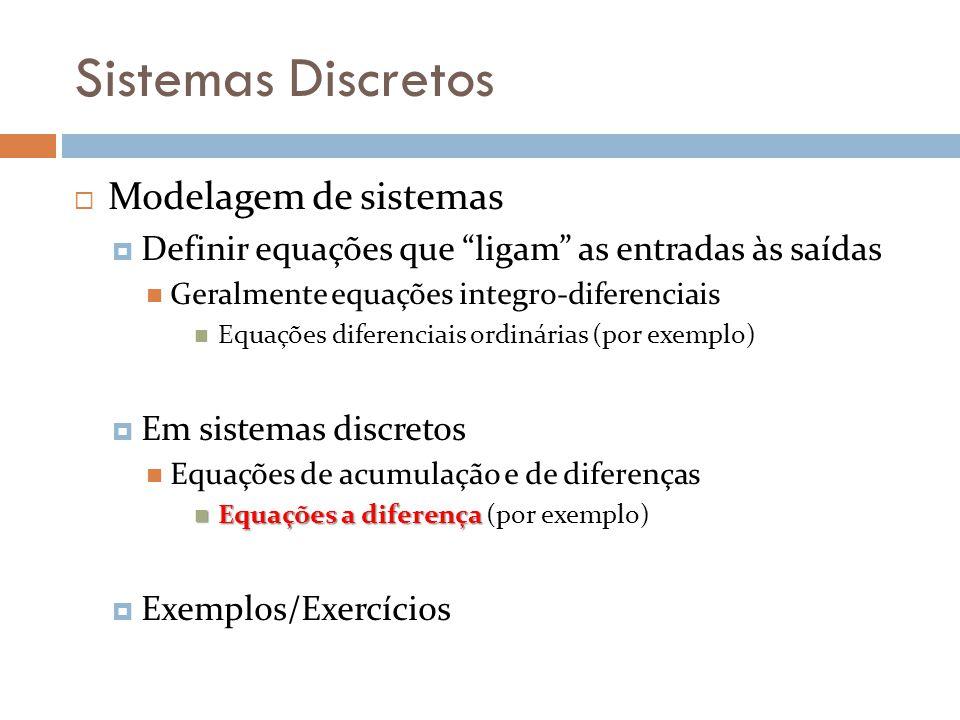 Sistemas Discretos Modelagem de sistemas Definir equações que ligam as entradas às saídas Geralmente equações integro-diferenciais Equações diferencia