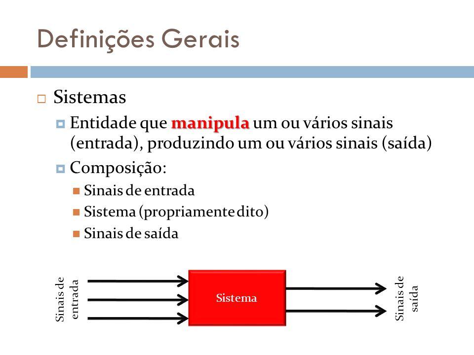 Definições Gerais Sistemas manipula Entidade que manipula um ou vários sinais (entrada), produzindo um ou vários sinais (saída) Composição: Sinais de entrada Sistema (propriamente dito) Sinais de saída Sistema Sinais de entrada Sinais de saída