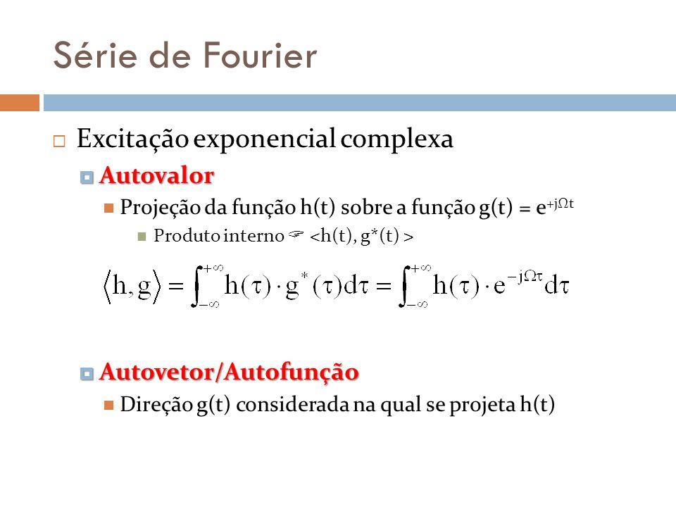 Série de Fourier Excitação exponencial complexa Autovalor Autovalor Projeção da função h(t) sobre a função g(t) = e +jΩt Produto interno Autovetor/Aut