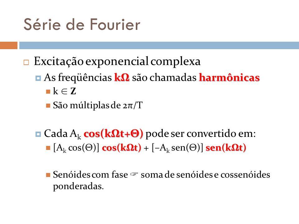Série de Fourier Excitação exponencial complexa kΩharmônicas As freqüências kΩ são chamadas harmônicas k Z São múltiplas de 2π/T cos(kΩt+Θ) Cada A k c