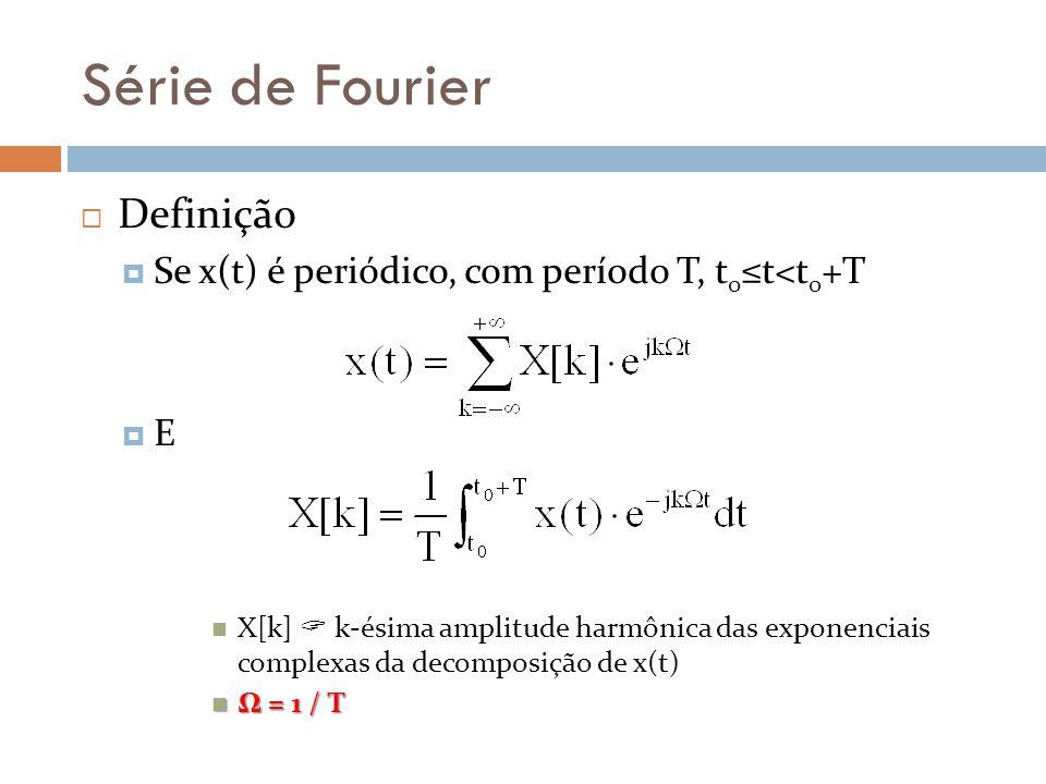 Série de Fourier Definição Se x(t) é periódico, com período T, t 0 t<t 0 +T E X[k] k-ésima amplitude harmônica das exponenciais complexas da decomposi