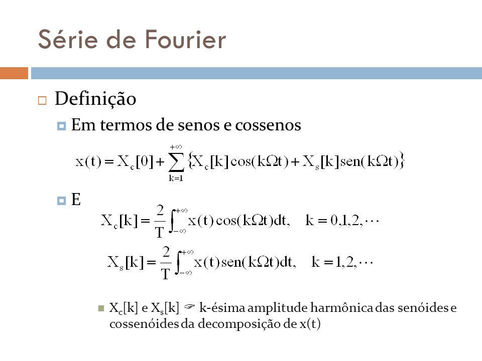 Série de Fourier Definição Em termos de senos e cossenos E X c [k] e X s [k] k-ésima amplitude harmônica das senóides e cossenóides da decomposição de