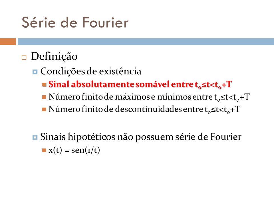 Série de Fourier Definição Condições de existência Sinal absolutamente somável entre t 0 t<t 0 +T Sinal absolutamente somável entre t 0 t<t 0 +T Númer