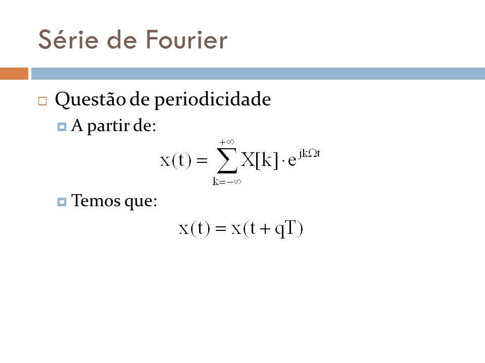Série de Fourier Questão de periodicidade A partir de: Temos que: