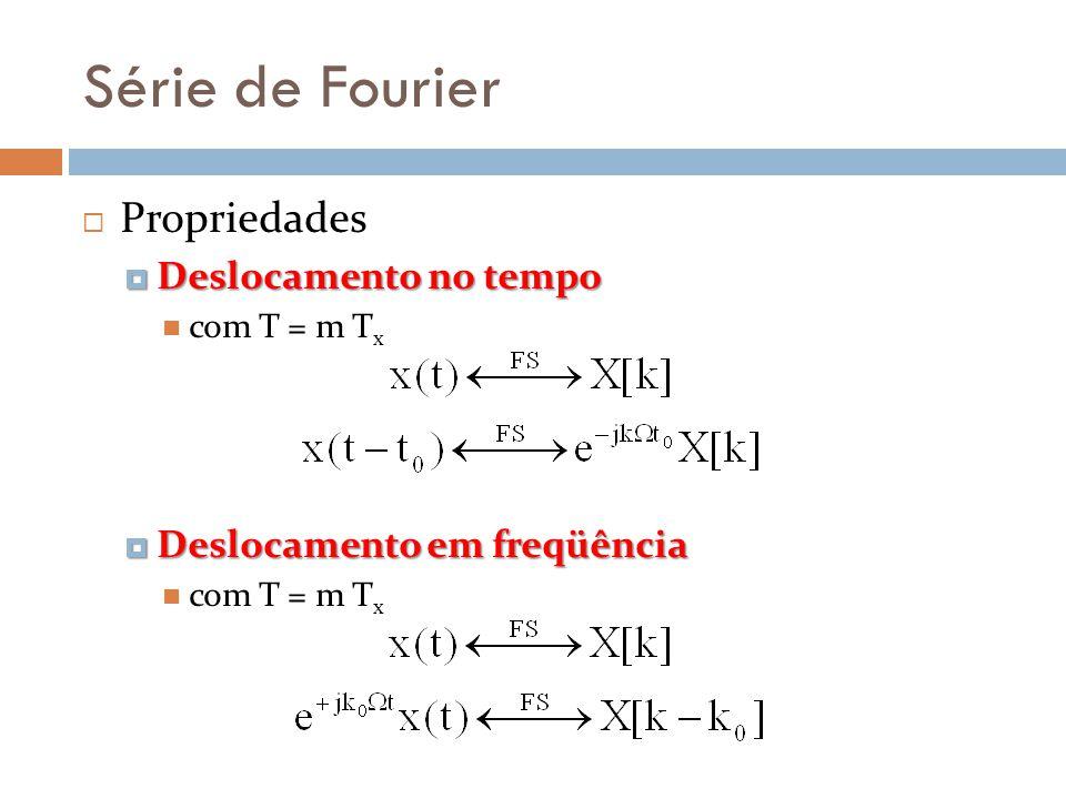 Série de Fourier Propriedades Deslocamento no tempo Deslocamento no tempo com T = m T x Deslocamento em freqüência Deslocamento em freqüência com T =