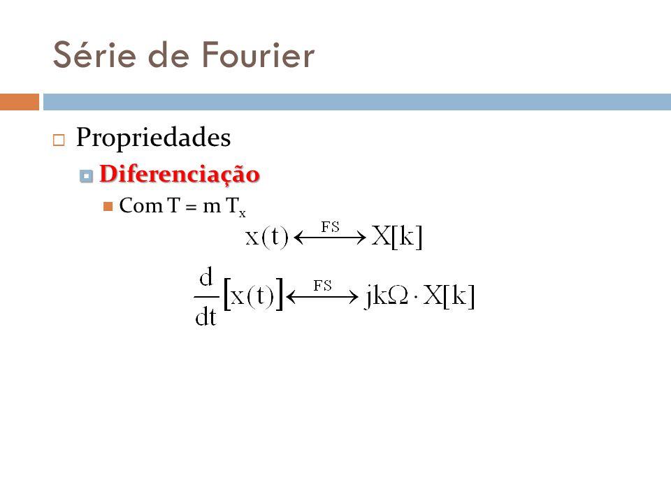 Série de Fourier Propriedades Diferenciação Diferenciação Com T = m T x