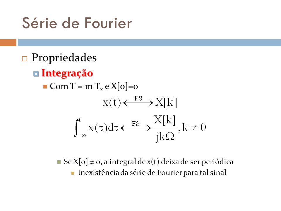 Série de Fourier Propriedades Integração Integração Com T = m T x e X[0]=0 Se X[0] 0, a integral de x(t) deixa de ser periódica Inexistência da série