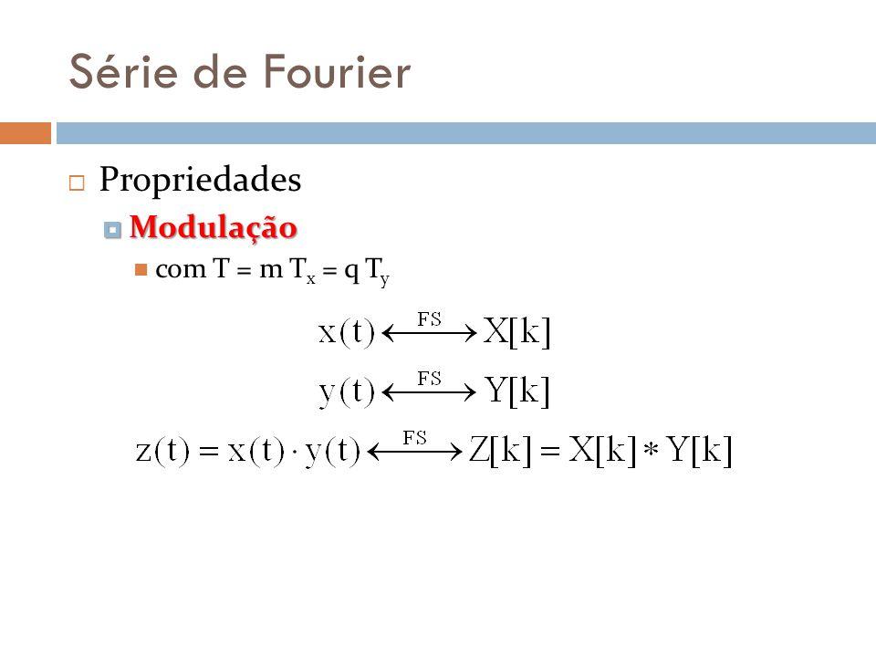 Série de Fourier Propriedades Modulação Modulação com T = m T x = q T y