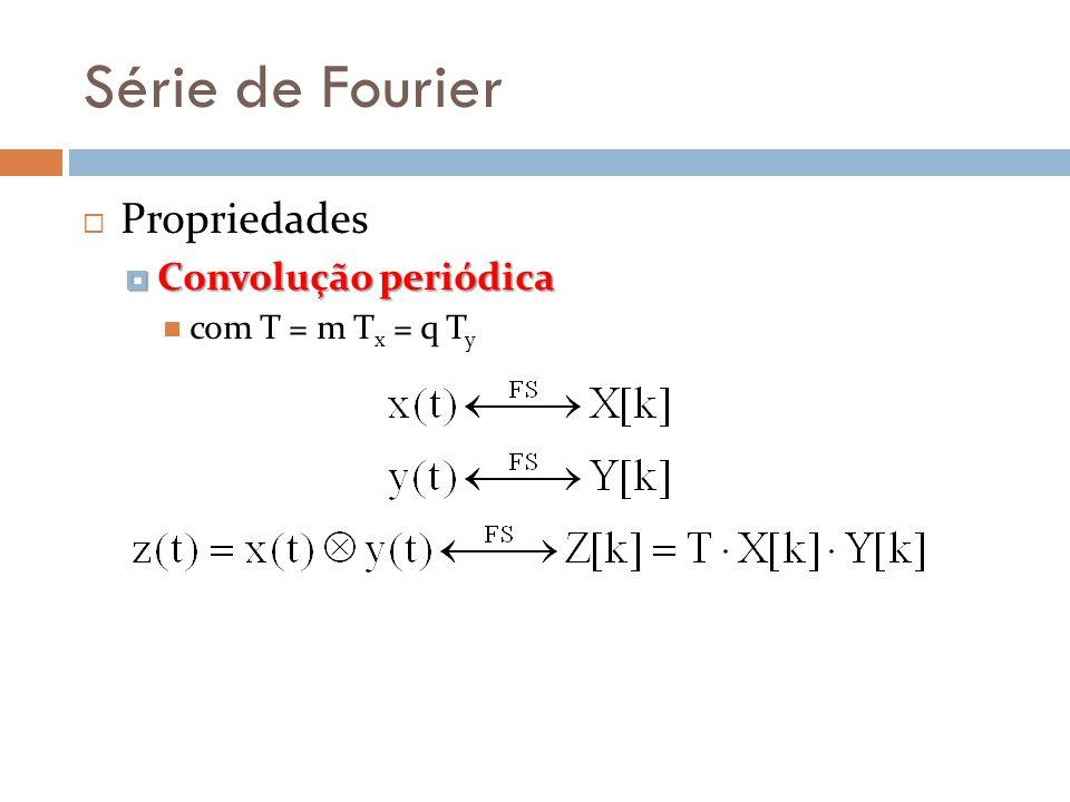 Série de Fourier Propriedades Convolução periódica Convolução periódica com T = m T x = q T y