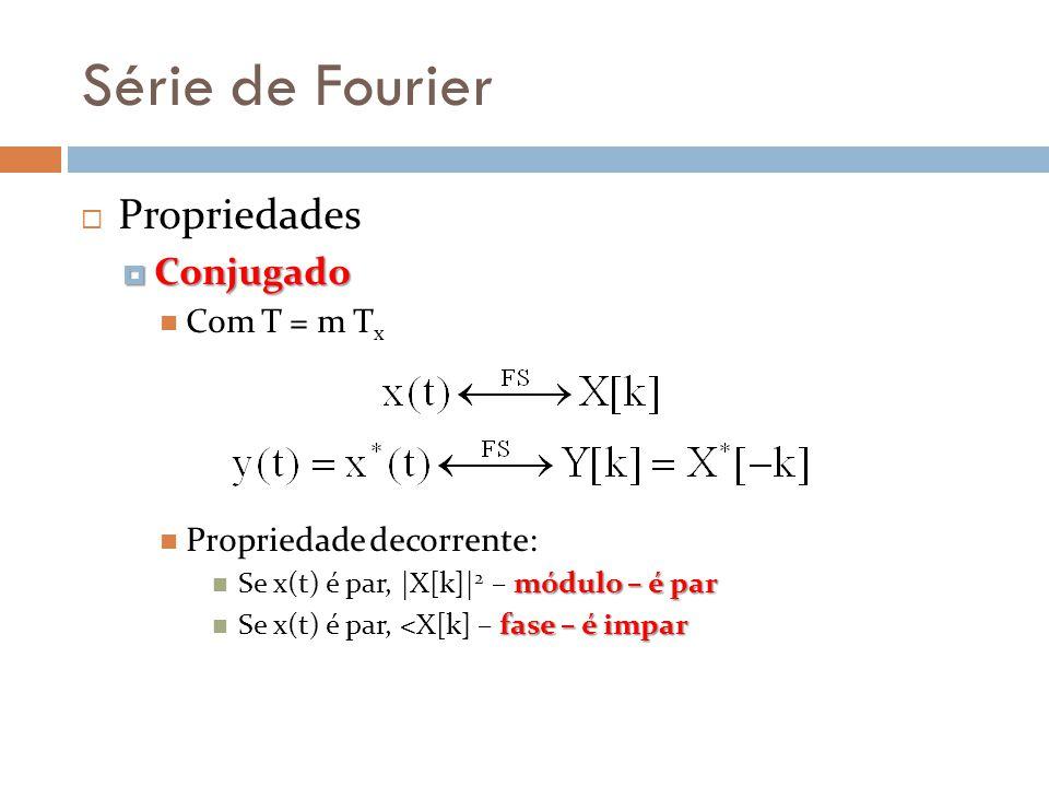 Série de Fourier Propriedades Conjugado Conjugado Com T = m T x Propriedade decorrente: módulo – é par Se x(t) é par, |X[k]| 2 – módulo – é par fase –