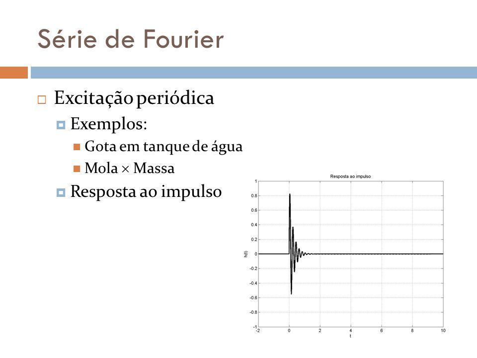 Série de Fourier Excitação periódica Exemplos: Gota em tanque de água Mola Massa Resposta ao impulso