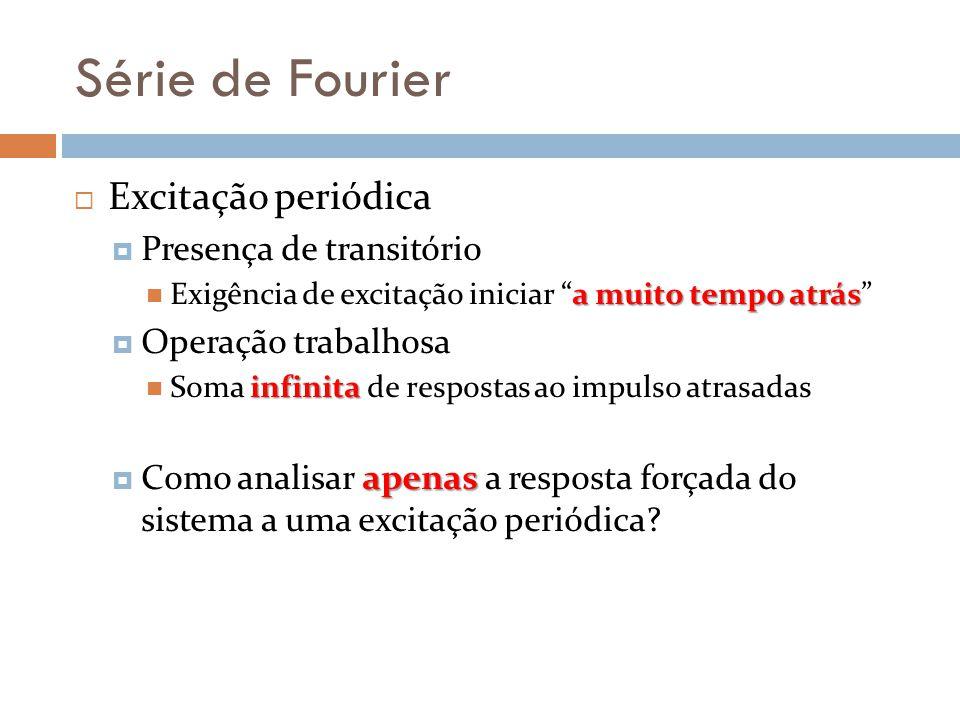 Série de Fourier Excitação periódica Presença de transitório a muito tempo atrás Exigência de excitação iniciar a muito tempo atrás Operação trabalhos