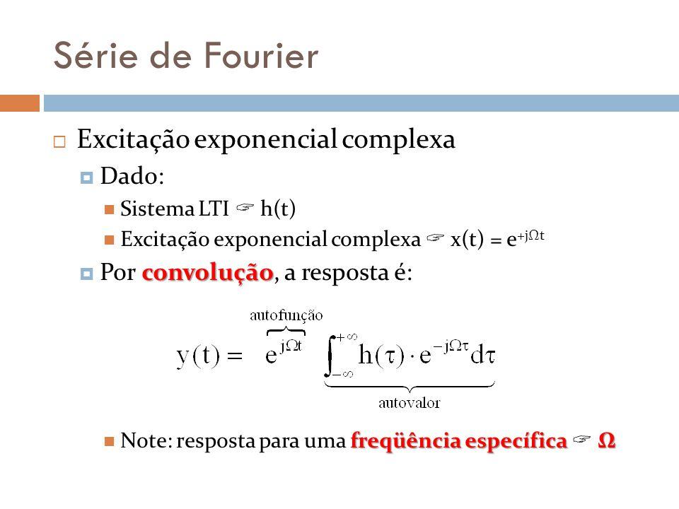 Série de Fourier Excitação exponencial complexa Dado: Sistema LTI h(t) Excitação exponencial complexa x(t) = e +jΩt convolução Por convolução, a respo