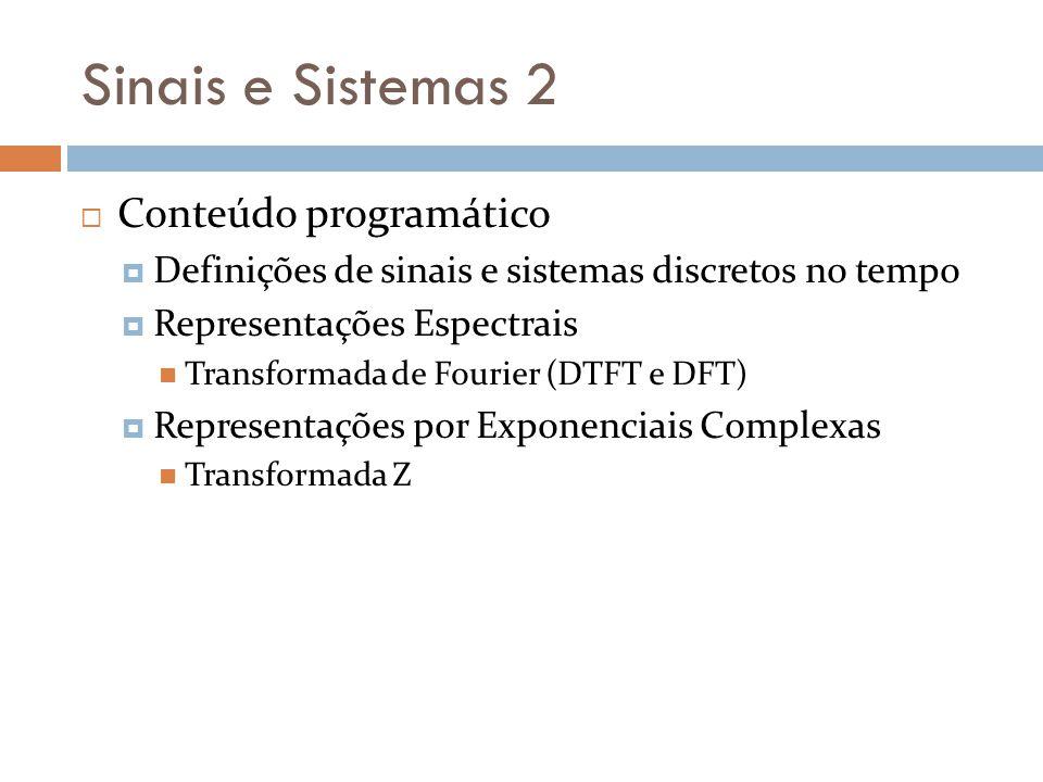 Sinais e Sistemas 2 Conteúdo programático Definições de sinais e sistemas discretos no tempo Representações Espectrais Transformada de Fourier (DTFT e