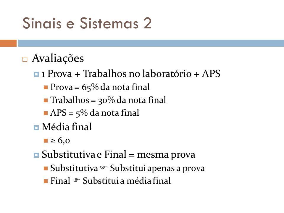 Sinais e Sistemas 2 Avaliações 1 Prova + Trabalhos no laboratório + APS Prova = 65% da nota final Trabalhos = 30% da nota final APS = 5% da nota final