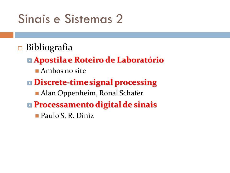 Sinais e Sistemas 2 Contatos para dúvidas mrosa@utfpr.edu.br Email: mrosa@utfpr.edu.br Sala: Departamento do DAELT/UTFPr Favor agendar sempre, para evitar desencontros.