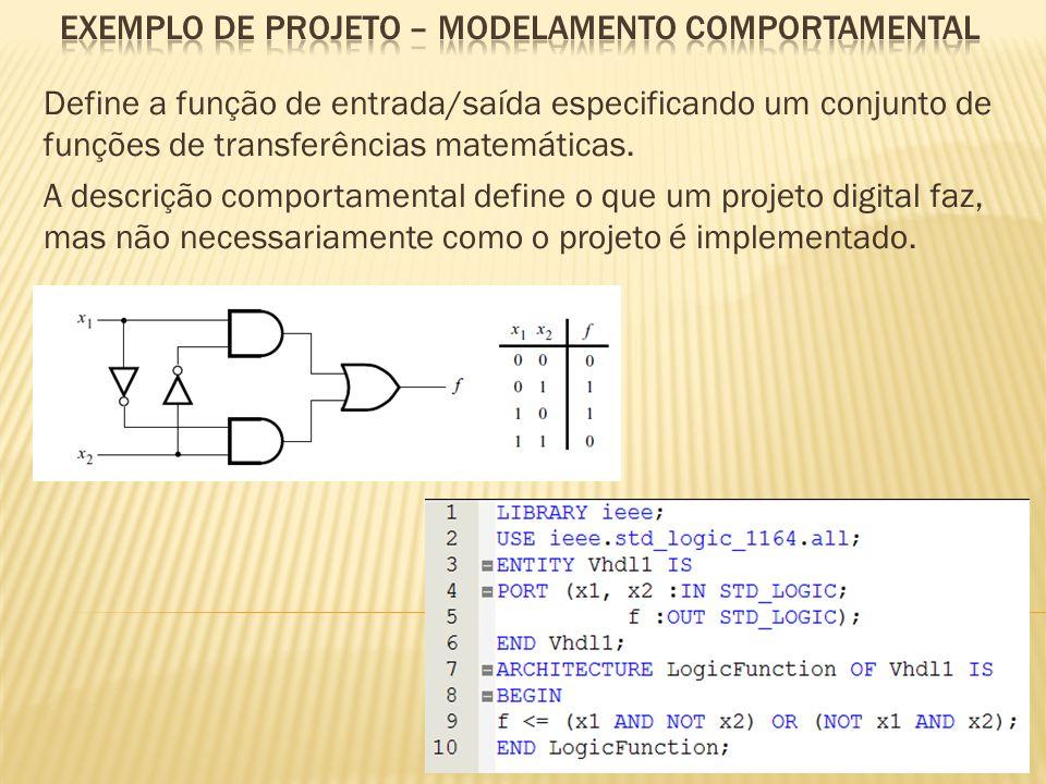 Define a função de entrada/saída especificando um conjunto de funções de transferências matemáticas. A descrição comportamental define o que um projet