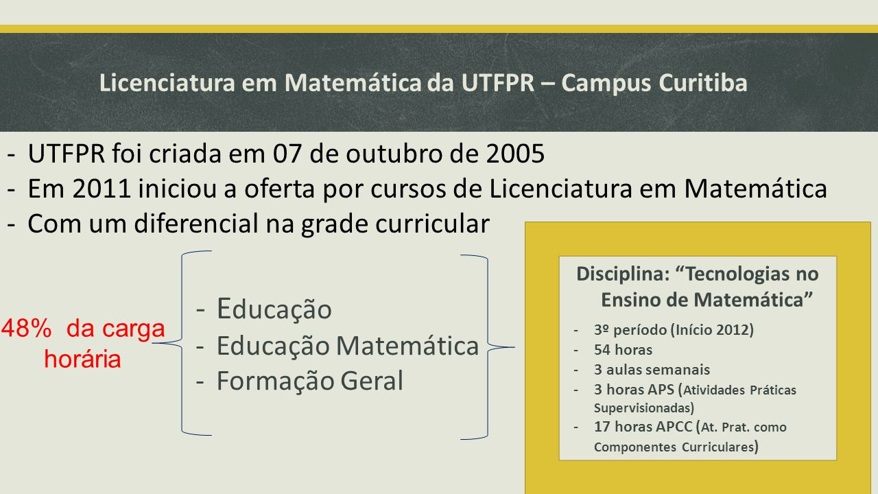 Licenciatura em Matemática da UTFPR – Campus Curitiba -UTFPR foi criada em 07 de outubro de 2005 -Em 2011 iniciou a oferta por cursos de Licenciatura