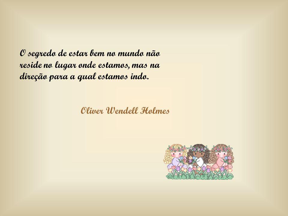 O segredo de estar bem no mundo não reside no lugar onde estamos, mas na direção para a qual estamos indo. Oliver Wendell Holmes