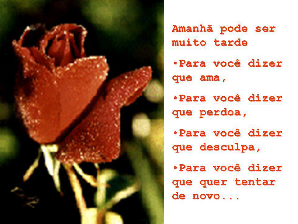 Amanhã pode ser muito tarde Para você dizer que ama,Para você dizer que ama, Para você dizer que perdoa,Para você dizer que perdoa, Para você dizer que desculpa,Para você dizer que desculpa, Para você dizer que quer tentar de novo...Para você dizer que quer tentar de novo...