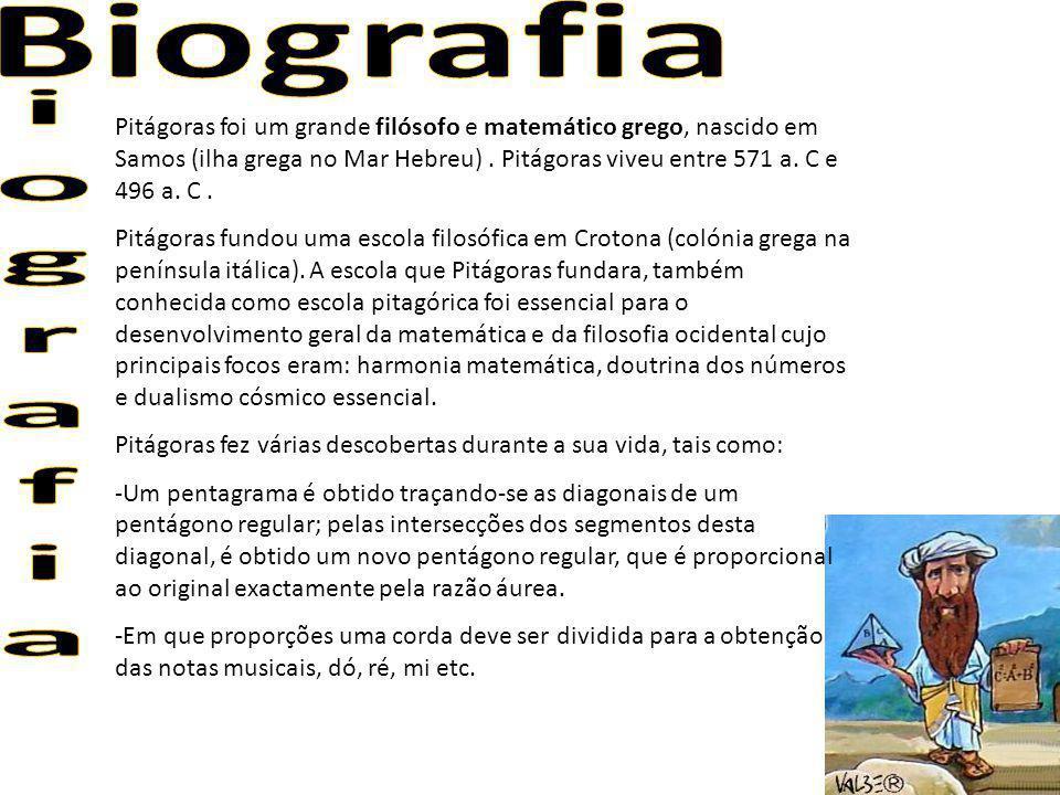 Pitágoras foi um grande filósofo e matemático grego, nascido em Samos (ilha grega no Mar Hebreu). Pitágoras viveu entre 571 a. C e 496 a. C. Pitágoras
