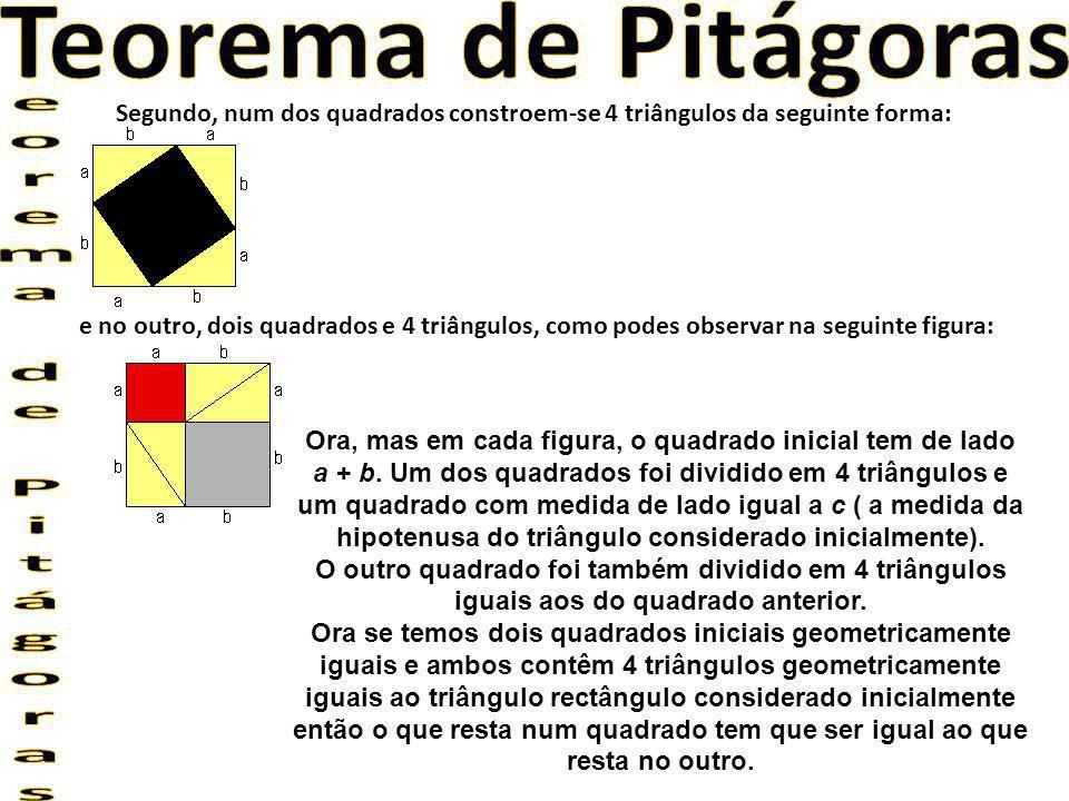 Segundo, num dos quadrados constroem-se 4 triângulos da seguinte forma: e no outro, dois quadrados e 4 triângulos, como podes observar na seguinte fig