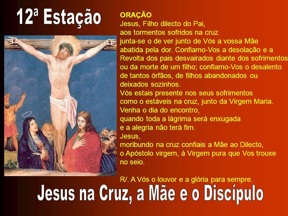 ORAÇÃO Jesus, Filho dilecto do Pai, aos tormentos sofridos na cruz junta-se o de ver junto de Vós a vossa Mãe abatida pela dor. Confiamo-Vos a desolaç