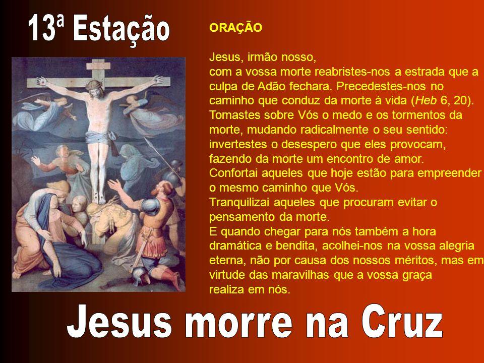 ORAÇÃO Jesus, irmão nosso, com a vossa morte reabristes-nos a estrada que a culpa de Adão fechara. Precedestes-nos no caminho que conduz da morte à vi