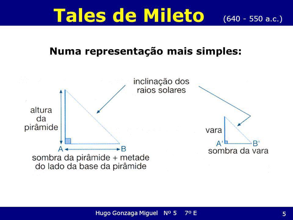 Os triângulos são semelhantes porque têm dois ângulos iguais Então, os lados do triângulo são proporcionais: (640 - 550 a.c.) Tales de Mileto Hugo Gonzaga Miguel Nº 5 7º E Logo: S = Sombra H = Altura P = Pirâmide 6