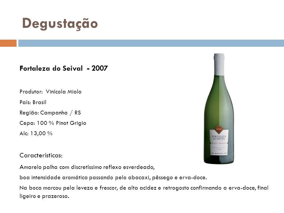 Fortaleza do Seival - 2007 Produtor: Vinícola Miolo País: Brasil Região: Campanha / RS Cepa: 100 % Pinot Grigio Alc: 13,00 % Características: A marelo