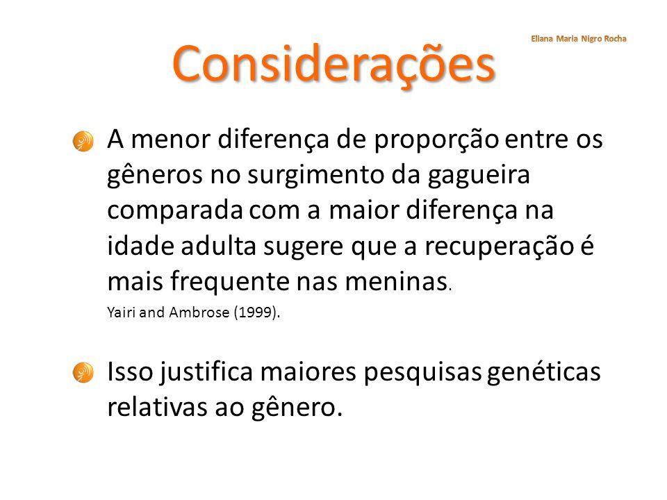 Considerações A menor diferença de proporção entre os gêneros no surgimento da gagueira comparada com a maior diferença na idade adulta sugere que a r